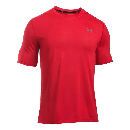 Mens Under Armour Threadborne Short Sleeve Technical Tops - Red L