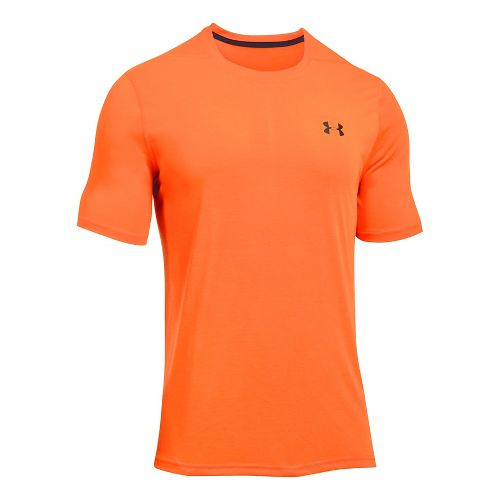 Mens Under Armour Threadborne Short Sleeve Technical Tops - Magma Orange XL