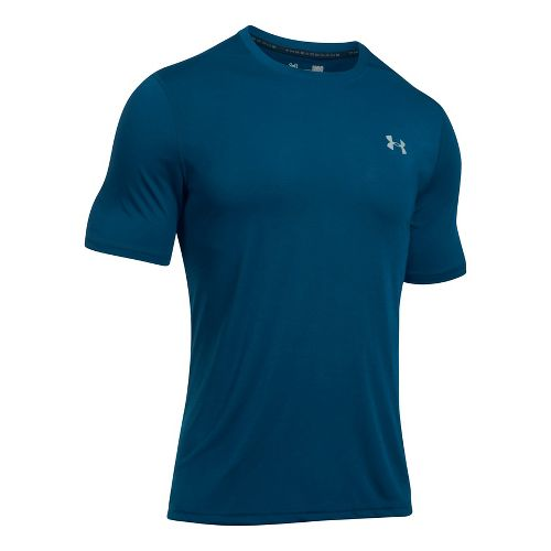 Mens Under Armour Threadborne Short Sleeve Technical Tops - Red M
