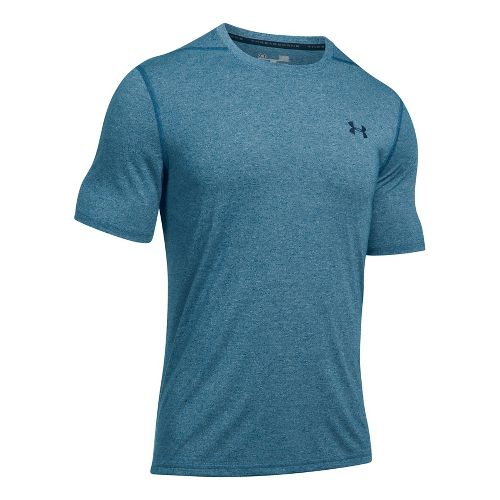 Mens Under Armour Threadborne Short Sleeve Technical Tops - Blackout Navy/Navy L