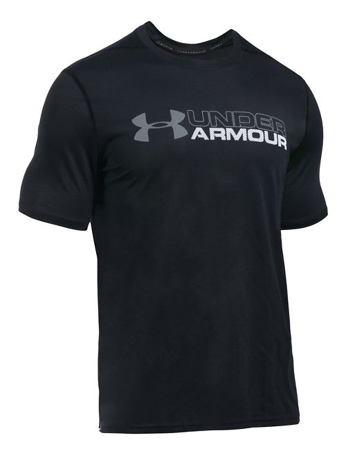 Mens Under Armour Wordmark Threadborne Short Sleeve Technical Tops - Black M