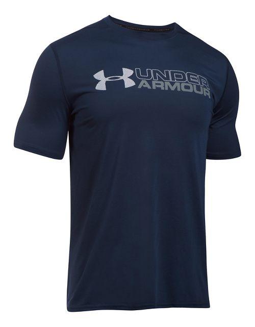Mens Under Armour Wordmark Threadborne Short Sleeve Technical Tops - Midnight Navy XL