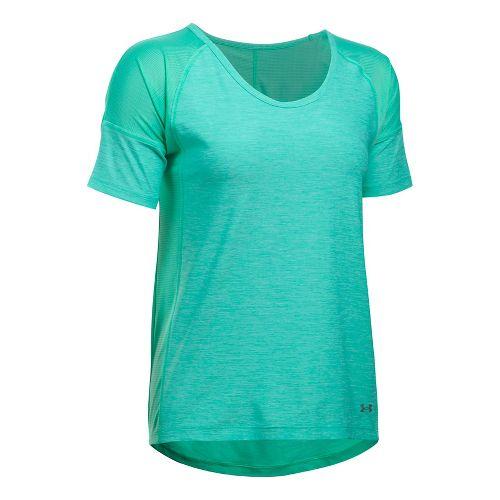 Womens Under Armour Sport Twist Short Sleeve Technical Tops - Absinthe Green S
