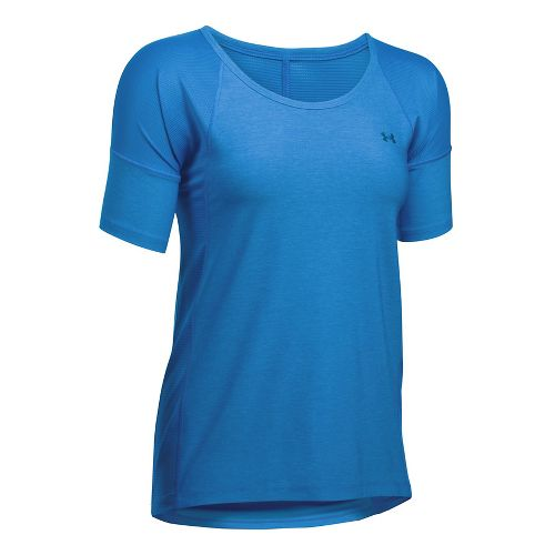 Womens Under Armour Sport Twist Short Sleeve Technical Tops - Mediterranean XL