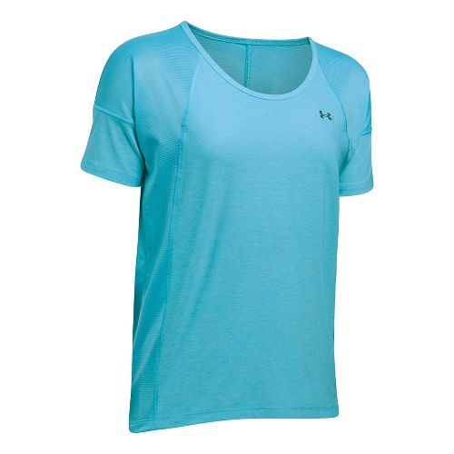 Womens Under Armour Sport Twist Short Sleeve Technical Tops - Island Blues M
