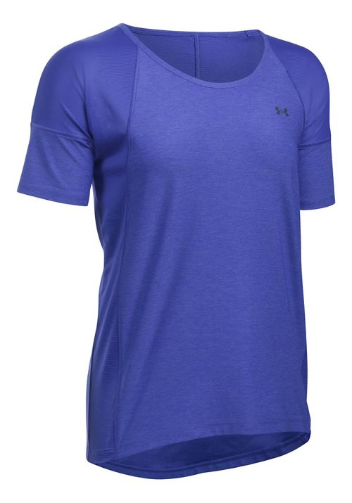 Womens Under Armour Sport Twist Short Sleeve Technical Tops - Constellation Purple XS
