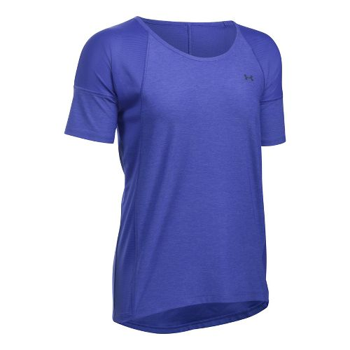 Womens Under Armour Sport Twist Short Sleeve Technical Tops - Constellation Purple M