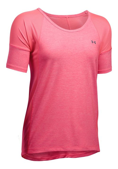 Womens Under Armour Sport Twist Short Sleeve Technical Tops - Pink Shock L