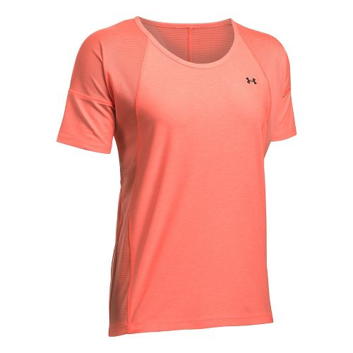 Womens Under Armour Sport Twist Short Sleeve Technical Tops - London Orange XL
