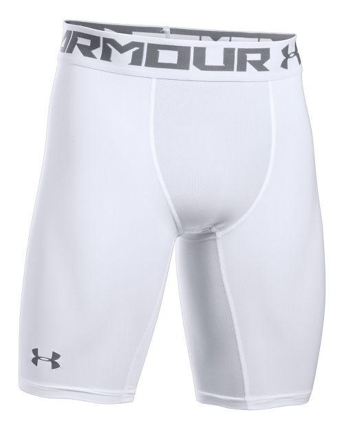Mens Under Armour HeatGear  2.0 Long Short Boxer Brief Underwear Bottoms - White M