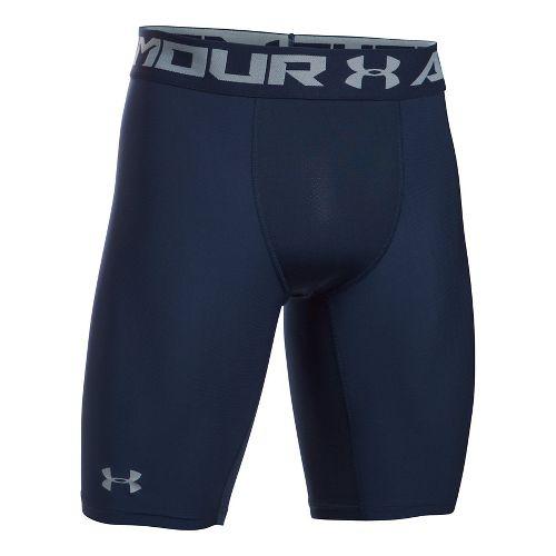 Mens Under Armour HeatGear 2.0 Long Short Boxer Brief Underwear Bottoms - Midnight Navy M ...