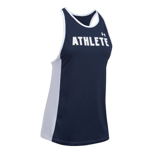 Womens Under Armour Athlete Favorite Sleeveless & Tank Tops Technical Tops - Navy/White L