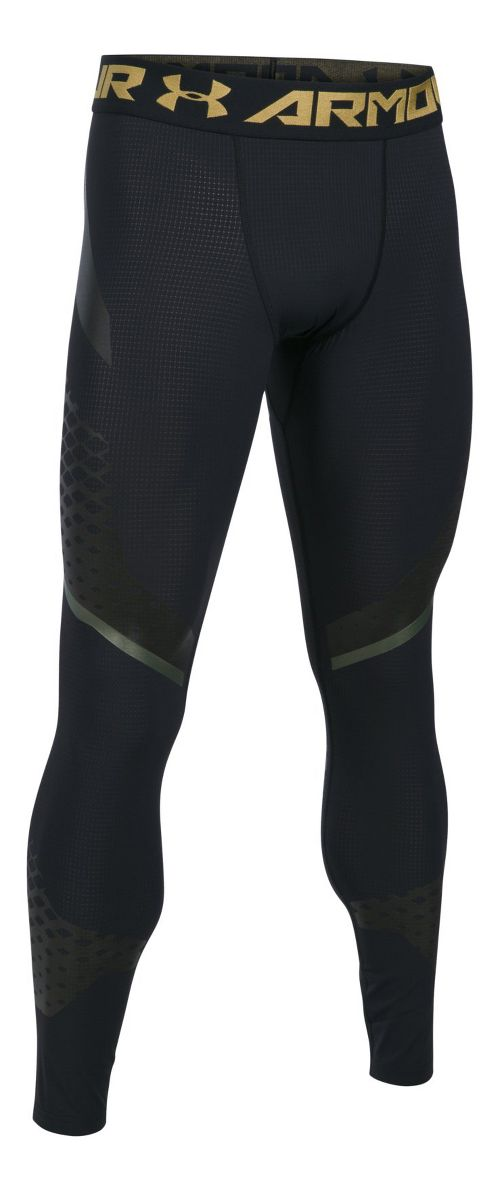 Mens Under Armour HeatGear Zone Compression Tights & Leggings Pants - Black/Black L