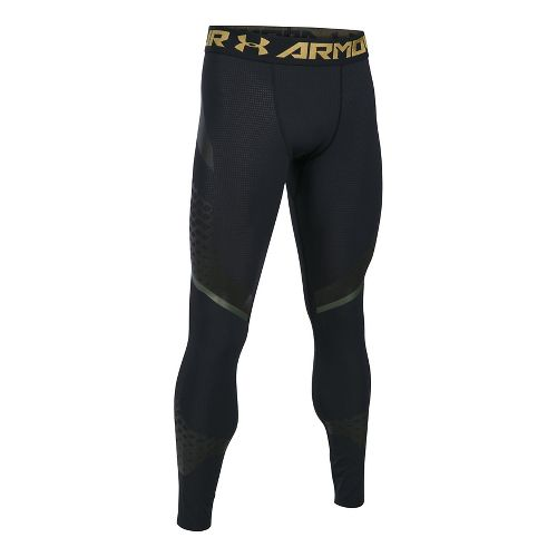 Mens Under Armour HeatGear Armour Zone Compression Tights & Leggings Pants - Black/Black XL