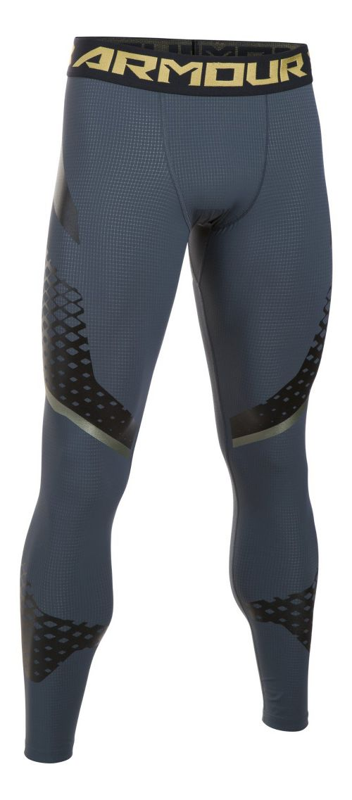 Mens Under Armour HeatGear Zone Compression Tights & Leggings Pants - Grey/Iridescent L