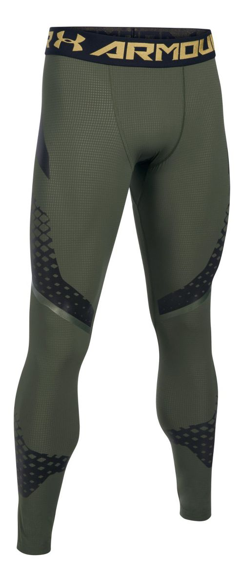 Mens Under Armour HeatGear Zone Compression Tights & Leggings Pants - Downtown Green/Black L