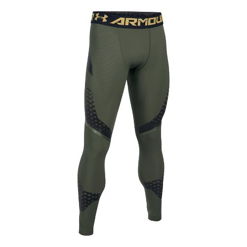 Mens Under Armour HeatGear Zone Compression Tights & Leggings Pants - Downtown Green/Black M