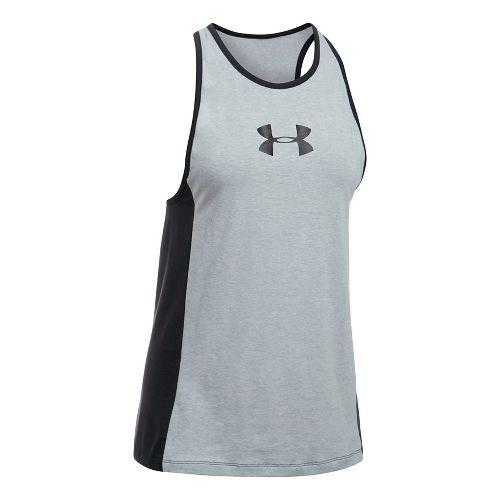 Womens Under Armour Big Logo Jock Favorite Sleeveless & Tank Tops Technical Tops - Grey Heather S