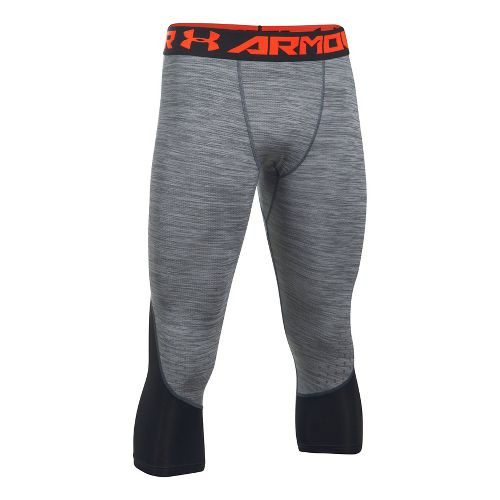 Mens Under Armour HeatGear Coolswtich Twist 3/4 Tights & Leggings Pants - Stealth Grey S ...