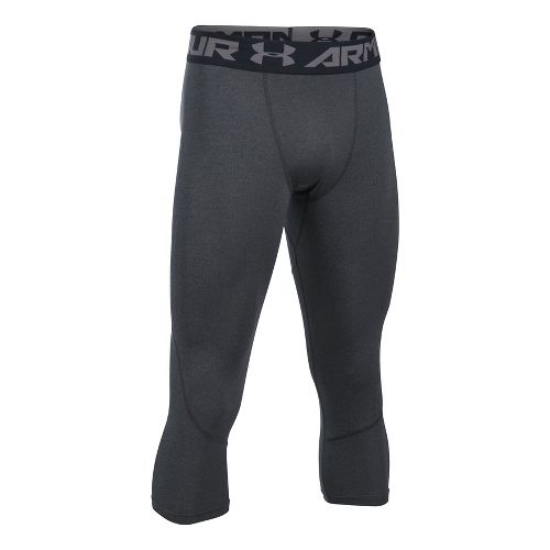 Mens Under Armour HeatGear Coolswtich Twist 3/4 Tights & Leggings Pants - Carbon Heather S ...