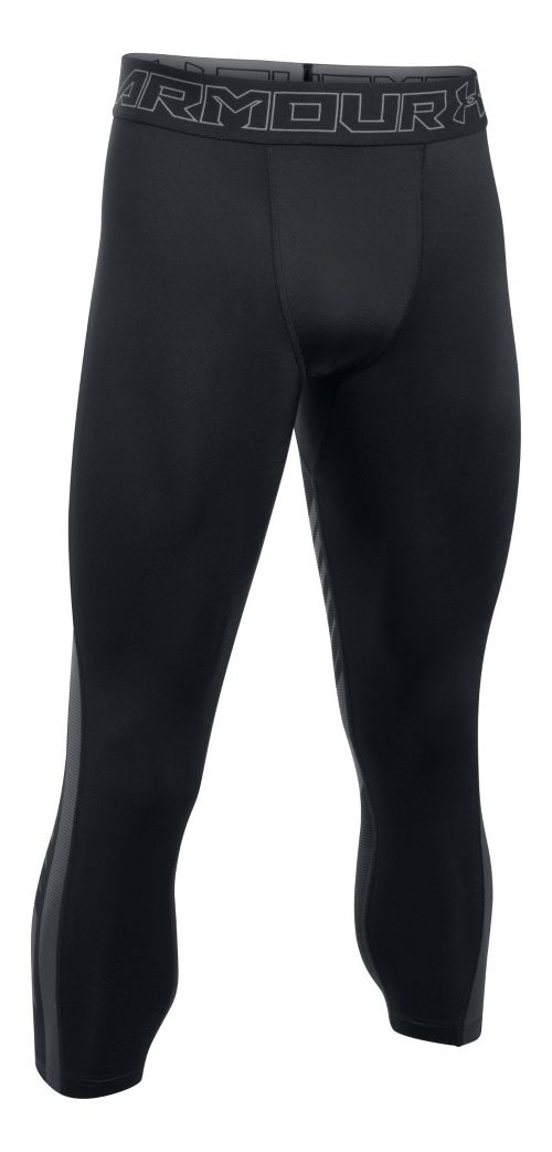 Mens Under Armour HeatGear Supervent 2.0 3/4 Tights & Leggings Pants - Black/Stealth Grey 3XL