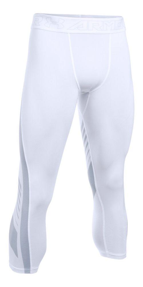 Mens Under Armour HeatGear Supervent 2.0 3/4 Tights & Leggings Pants - White XL