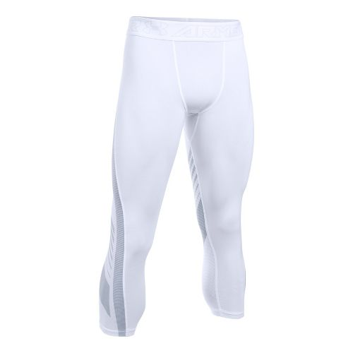 Mens Under Armour HeatGear Supervent 2.0 3/4 Tights & Leggings Pants - White 3XL