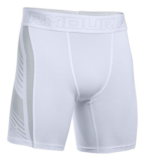 Mens Under Armour HeatGear Supervent 2.0 Compression & Fitted Shorts - White/Overcast Grey XXL