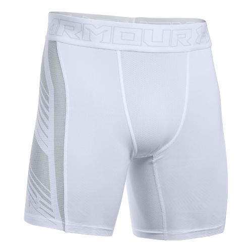 Mens Under Armour HeatGear Supervent 2.0 Compression & Fitted Shorts - White/Overcast Grey L