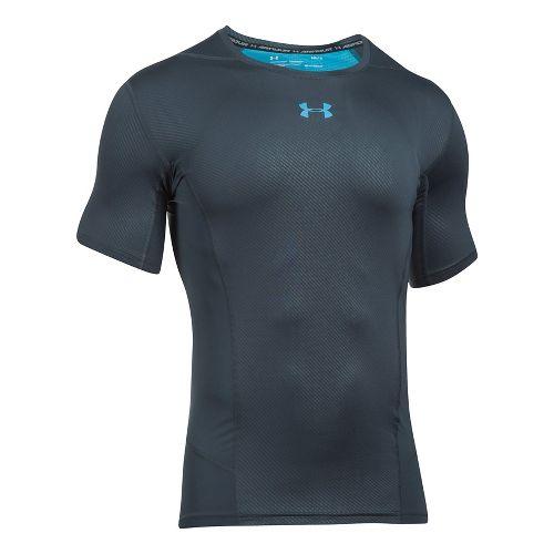 Mens Under Armour HeatGear Supervent 2.0 Short Sleeve Technical Tops - Stealth Grey/Blue L