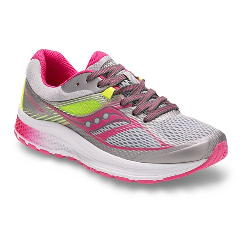 Kids Saucony Guide 10 Running Shoe - Grey/Pink 2.5Y