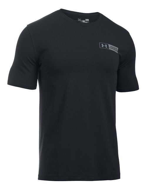 Mens Under Armour Left Chest Bar Lockup Short Sleeve Technical Tops - Black 3XL