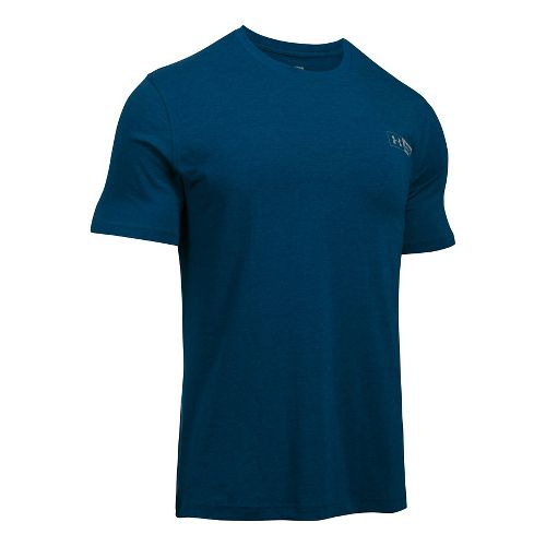 Mens Under Armour Left Chest Bar Lockup Short Sleeve Technical Tops - Blackout Navy XXL ...
