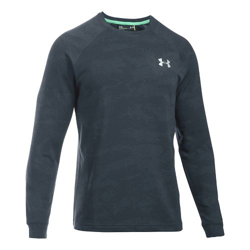 Mens Under Armour Tech Terry Crew Long Sleeve Technical Tops - Stealth Grey L