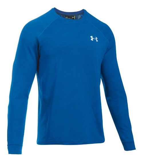 Mens Under Armour Tech Terry Crew Long Sleeve Technical Tops - Blue Marker L