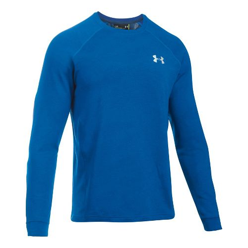Mens Under Armour Tech Terry Crew Long Sleeve Technical Tops - Blue Marker M