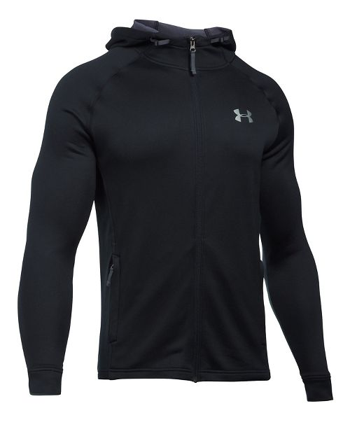 Mens Under Armour Tech Terry Full Zip Half-Zips & Hoodies Technical Tops - Black/Black XXL