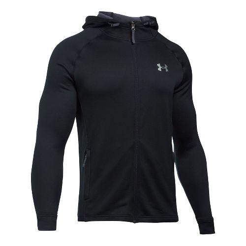 Mens Under Armour Tech Terry Full Zip Half-Zips & Hoodies Technical Tops - Black/Black XL-T ...