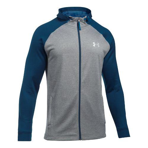 Mens Under Armour Tech Terry Full Zip Half-Zips & Hoodies Technical Tops - True Grey ...