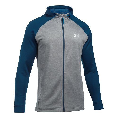 Mens Under Armour Tech Terry Full Zip Half-Zips & Hoodies Technical Tops - True Grey ...
