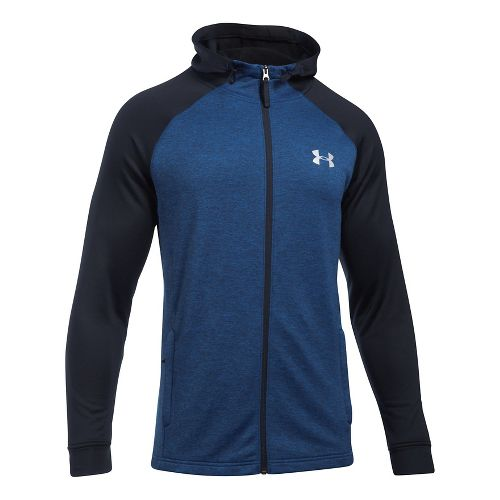 Mens Under Armour Tech Terry Full Zip Half-Zips & Hoodies Technical Tops - Blue Marker/Black ...
