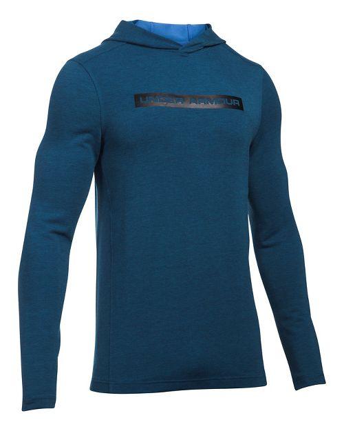 Mens Under Armour Tech Terry Long Sleeve Half-Zips & Hoodies Technical Tops - Blackout Navy 3XL