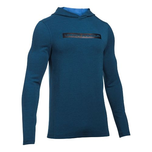Mens Under Armour Tech Terry Long Sleeve Half-Zips & Hoodies Technical Tops - Blackout Navy ...