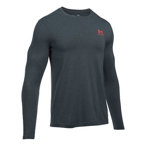Mens Under Armour Left Chest Long Sleeve Technical Tops - Stealth Grey S