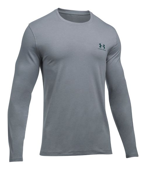 Mens Under Armour Left Chest Long Sleeve Technical Tops - Steel Heather/Green S