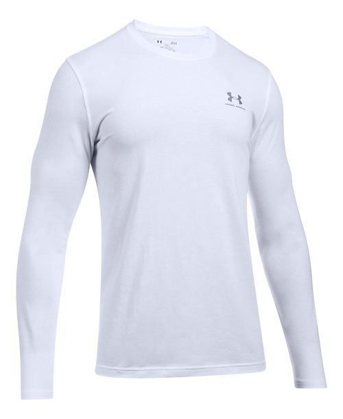 Mens Under Armour Left Chest Long Sleeve Technical Tops - White XL