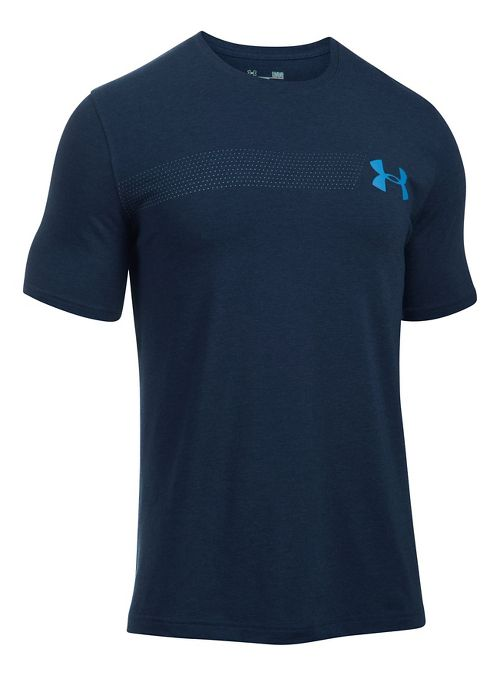 Mens Under Armour Fast Left Chest Update Short Sleeve Technical Tops - Midnight Navy L
