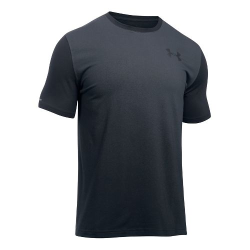 Mens Under Armour Left Chest Spray Gradient Short Sleeve Technical Tops - Black/Graphite M
