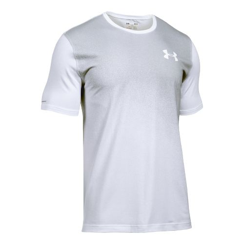 Mens Under Armour Left Chest Spray Gradient Short Sleeve Technical Tops - White/Overcast Grey S ...
