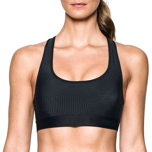Womens Under Armour Crossback Embossed Elastic Sports Bras - Black XS